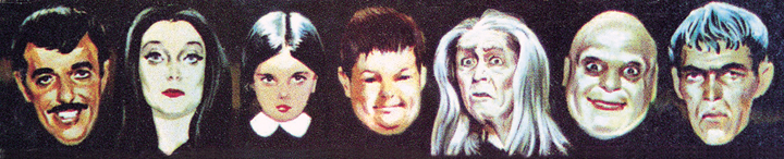 "Caricatures of the cast from the box art for Ideal's ""The Addams Family Game."""