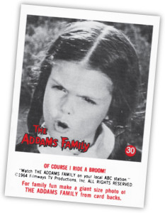 "Lisa Loring as Wednesday in card #30 of the ""Addams Family"" trading card set by Donruss."