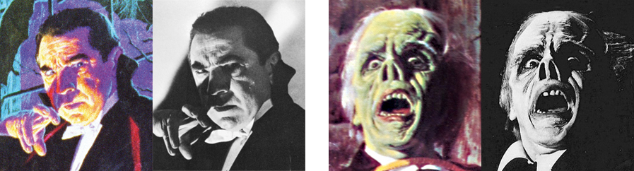 "The clearest example of Bama's use of a movie still was his Dracula box art, which mirrored a publicity photo of Bela Lugosi from 1948's ""Abbott and Costello Meet Frankenstein."" For his Phantom box art, Bama used James Cagney in 1957's ""Man of 1000 Faces"" (who was playing Lon Chaney Sr. playing the Phantom) rather than Chaney himself. [© Universal Studios]"