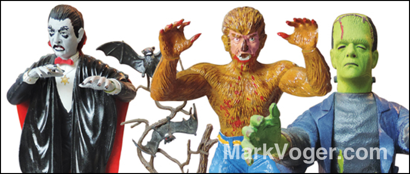 The big three — Dracula, Wolf Man, Frankenstein — were immortalized in Aurora model kits. [© Universal Studios]