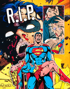 Superman mourns his cousin Kara. Crisis on Infinite Earths #7 (1985). Art: George Perez. Robin goes to pieces in Batman #428 (1988). Art: Mike Mignola. Lois takes it hard in Superman #75 (1993). Art: Dan Jurgens, Brett Breeding. [© DC Comics]