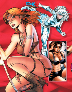 Luscious –and handy with a sword. Gen13 #5 (1995). Art: J. Scott Campbell [© Aegis Entertainment]. Silver Sable gets a leg up. Silver Sable and the Wild Pack #1 (1992). Art: Steven Butler, Jim Sanders III [© Marvel Comics]. Heroine – or exotic dancer? Shadow State #2 (1996). Art: Dave Cockrum, Frank McLaughlin [© 2006 Broadway Comics].