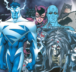 "A collage from the back cover of ""The Dark Age"" (minus the type) featured Superman in art by Ron Frenz and Joe Rubinstein; Catwoman in art by Jim Balent; Dr. Manhattan in art by Dave Gibbons; Lobo in art by Val Semieks and John Dell; and Batman in art by Frank Miller, Klaus Janson and Lynn Varley [© DC Comics]."