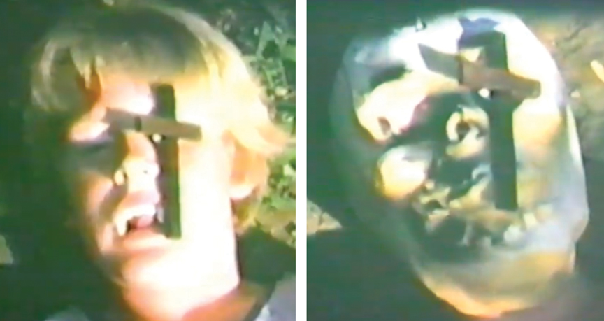 "My little brother plays a vampire who, vanquished by a crucifix, becomes a skeleton in my Super 8 opus ""Fury of the Vampires"" (1971). This amazing effect was achieved via ""stop motion"" photography (that's a technical term) and a rubber skull mask."