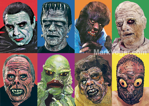 Don Post Studios masks, from a 1965 ad. The same photos were used in a calendar issue by Don Post. [© Universal Studios; © Don Post Studios]