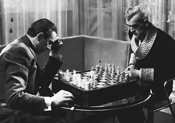 Lugosi and Karloff play a high-stakes game of chess.