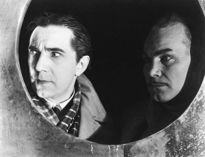 Lugosi and Harry Cording as Werdegast and his silent servent, Thal.