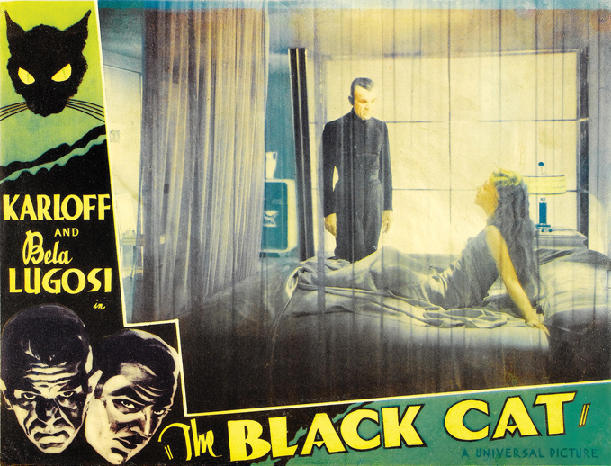 "Boris Karloff and Lucille Lund in a ""Black Cat"" lobby card. Lund played two roles: a mother and daughter, both named Karen."