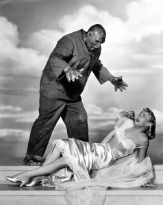 "In the 1950s, dames always had lingerie and heels on when monsters attacked. And they were always blond. ""The Creature Walks Among Us"" (1957)."