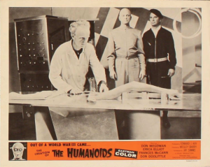 "Science happens in this lobby card for ""The Creation of the Humanoids."""