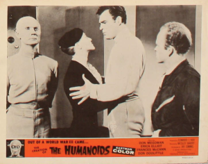 """Don't do it, Sis!"" says Cragus (Don Megowan) in this lobby card for ""The Creation of the Humanoids."""