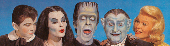 "From left: ""Munsters"" Eddie (Butch Patrick), Lily (Yvonne DeCarlo), Herman (Fred Gwynne), Grandpa (Al Lewis) and Marilyn (Pat Priest). [© Kayro-Vue Productions and ™ Universal Studios]"