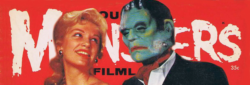 That's James Warren parodying Hugh Hefner with an ascot, Frankenstein mask and busty blonde on the cover of Famous Monsters of Filmland No. 1 (1958). [© Warren Publishing]