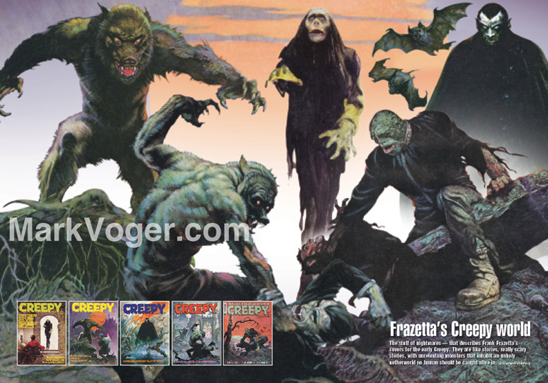 "A collage of images from early Creepy covers by Frank Frazetta was created as a two-page spread especially for ""Monster Mash."" [© Warren Publishing]"
