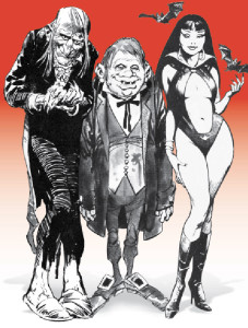 Warren Publishing's hosts with the most: Uncle Creepy, Cousin Eerie and Vampirella. [© Warren Publishing]