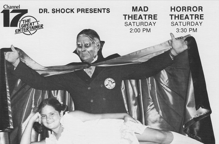 "Bubbles grew up before our eyes. An ad for Dr. Shock's Saturday afternoon double-feature, ""Mad Theatre"" and ""Horror Theatre."""