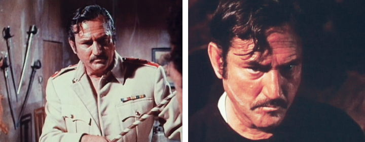 "Rafael Bertrand as by-the-book Captain Labesch in two scenes from ""Snake People."""