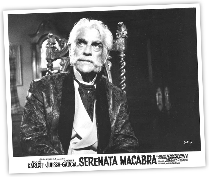 "Karloff in a publicity still from ""Serenata Macabra"" (aka ""House of Evil"")."