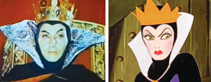 "Ofelia Guilmain (left) as the Queen of Badness in ""LRRH&TM"" looks enough like the Evil Queen in ""Snow White"" that Disney could have sued."