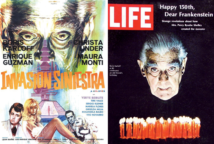 "Sharp-eyed Karloff fans recognized that the poster art for ""Invasion Siniestra"" (aka ""The Incredible Invasion"") referenced the actor's cover photo for the March 15, 1968, edition of Life."