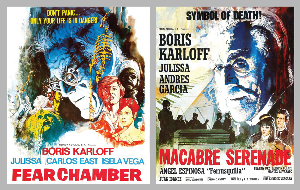 "Movie posters for ""Fear Chamber"" and ""House of Evil"" (here titled ""Macabre Serenade"")."