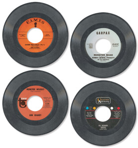 Novelty singles by Zacherley, Bobby (Boris) Pickett, Lon Chaney Jr. and Bill Buchanan