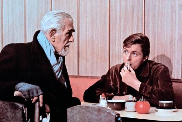 "Boris Karloff has a proposition for Ian Ogilvy in Michael Reeves' ""The Sorcerors"" (1967)."