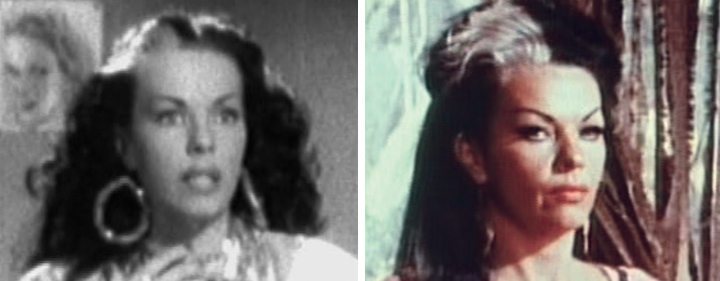 "Dancer/actress Tongolele in ""Han matado a Tongolele"" (1948), left, and 20 years later as the powerful Kalea in ""Snake People."""