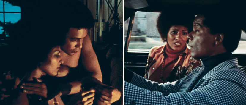 Left: Howard is the suitor that Coffy sleeps with. Right: Carter is the nice guy cop whose romantic pitches go nowhere.