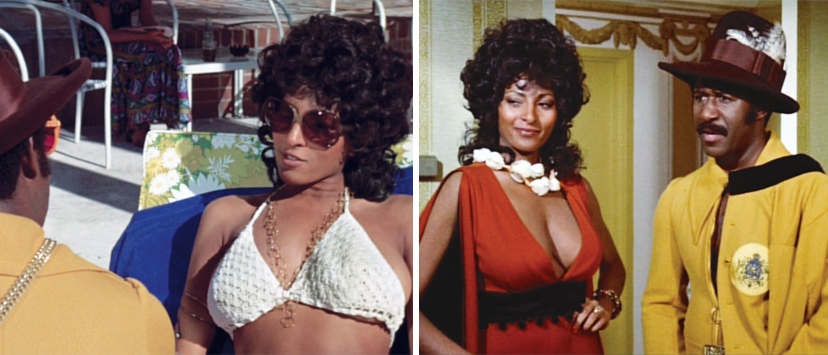 "Left: As ""Mystique,"" Coffy draws the attention of superfly pimp King George (Robert LoQui). Right: King George introduces his new lady."