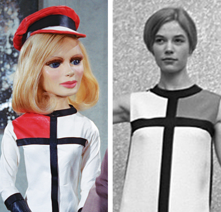 Lady Penelope looks up-to-the-minute in a Mondrian dress by Yves St. Laurent. (A real one is shown at right in a 1966 photo from the Dutch Nationaal Archief).