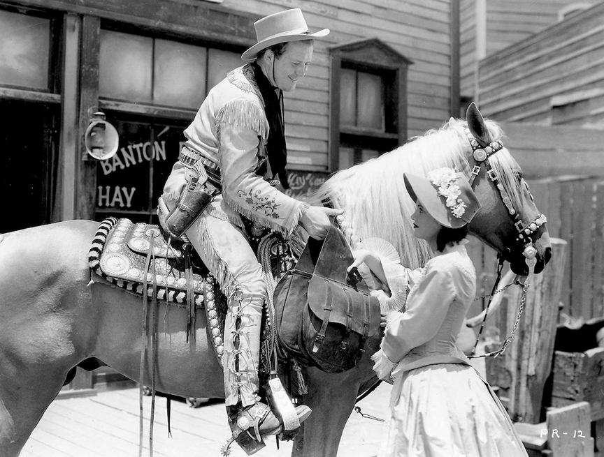 "Dick Foran, Smoke and Linda Perry in ""California Mail"" (1936)."