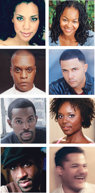 From top left: Cast members Christina Acosta Robinson, Crytal A. Dickinson, Kevin Mambo, Jason Dirden, Charlie Hudson III, Brittany Belizeare and Brian D. Coats, and director Brandon J. Dirden