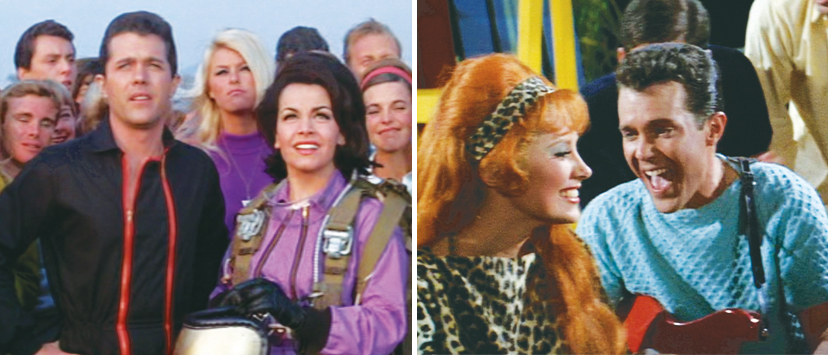 "Left: Ashley with Annette Funicello watch a parachute drop in ""Beach Blanket Bingo."" Right: Ashley sings ""That's What I Call a Healthy Girl"" to Beverly Adams in ""How to Stuff a Wild Bikini."""
