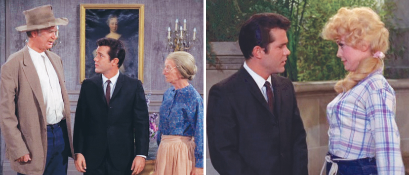 "Left: Ashley trades lines with old pros Buddy Ebsen and Irene Ryan on ""The Beverly Hillbillies."" Right: Back by the cement pond with Elly May (Donna Douglas)."
