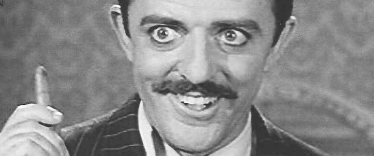 "John Astin as Gomez Addams. Astin is among actors interviewed in ""Monster Mash."""
