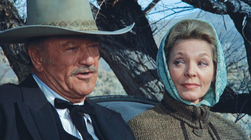 """Blood Alley"" co-stars Wayne and Bacall reunited for the faintest whisp of romance in ""The Shootist."""