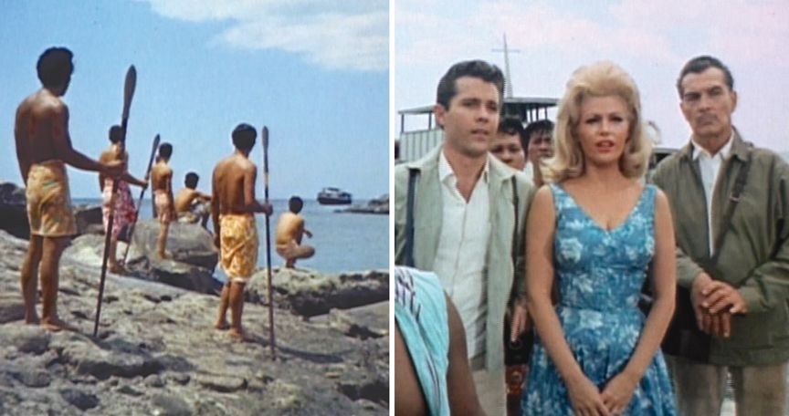 All Blood Island movies like this: A boat arrives, unknowing white people disembark. From left: John Ashley, Beverly Hills and Kent Taylor.