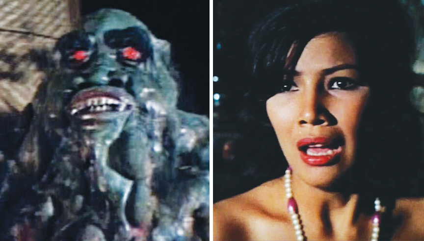 Left: The melty monster's face was largely inarticulate, though the mouth moved a little. Right: Every Blood Island movie has a hot native girl. In this case, it's Alma (Eva Darren).