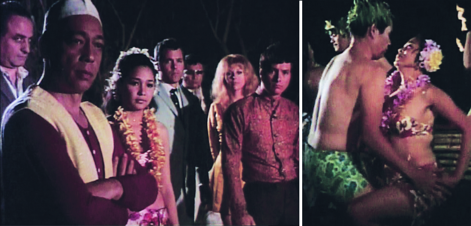 In a beautifully composed shot, the cast observes a native ritual. From left: Tony Edmunds, Alfonso Carvajal, Alonzo, Ashley, Remy, Pettyjohn and Valdez.