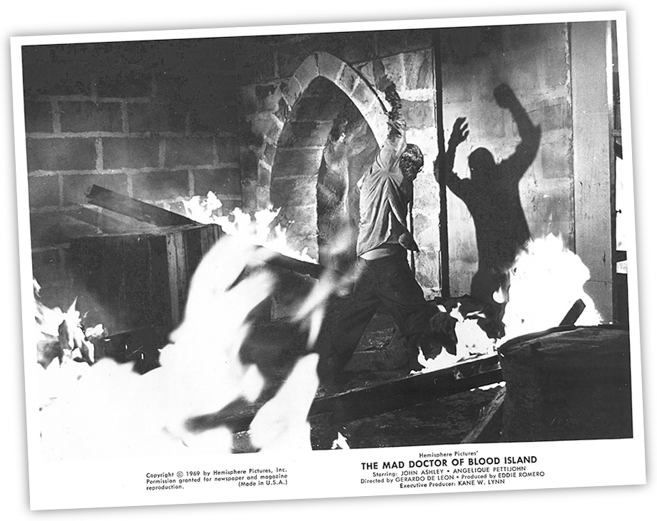 "A publicity still for ""Mad Doctor of Blood Island"" sent to media outlets — as if it's a real movie like any other."