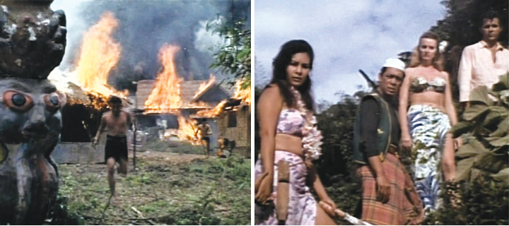 "Another Blood Island movie, another fiery climax (left). Belmonte, Alfonso Carvajal, Yarnall and Ashley all go ""phew!"""