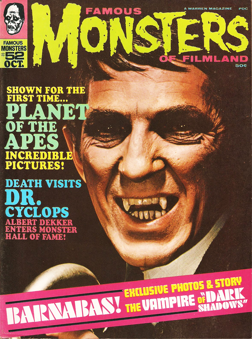 Barnabas became Famous Monsters' cover boy with issue #52 in 1968.
