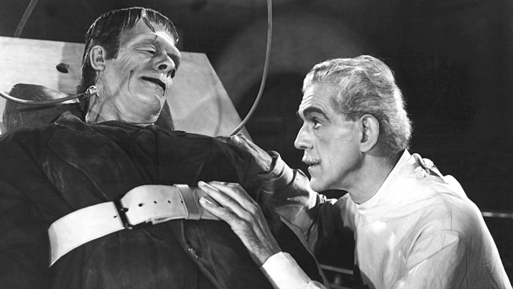"Glenn Strange as the Frankenstein monster and Boris Karloff as Dr. Gustav Niemann in ""House of Frankenstein"" (1944). I uttered sacrilege by admitting that Strange, not Karloff, is my favorite Frankenstein."
