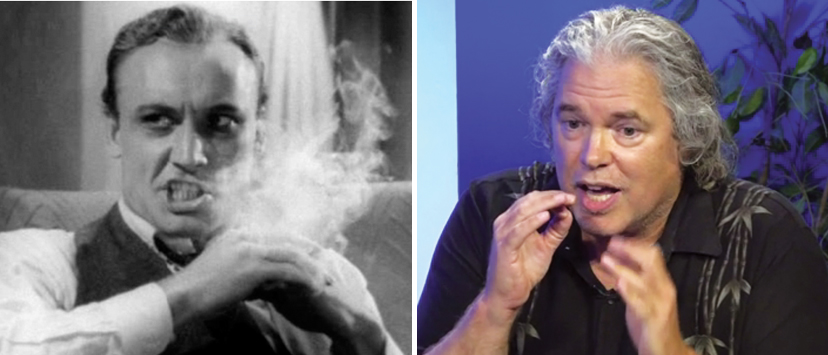 "Left: ""Devil Bat"" star Dave O'Brien in ""Reefer Madness"" (1936). Right: I recreate his manic toking ... in the Edison Municipal Building, yet."