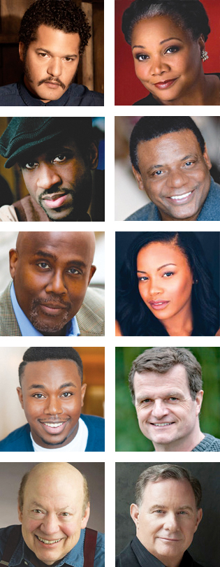 From top left: Cast members Brandon J. Dirden, Arnetia Walker, Brian D. Coats, Harvy Blanks, James A. Williams, Chante Adams, Marcel Spears, Michael Cumpsty, Peter Van Wagner and Bob Mackasek